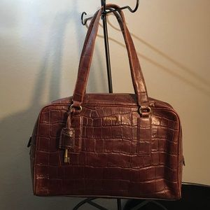 FOSSIL Cognac Brown Croc Embossed Leather Satchel